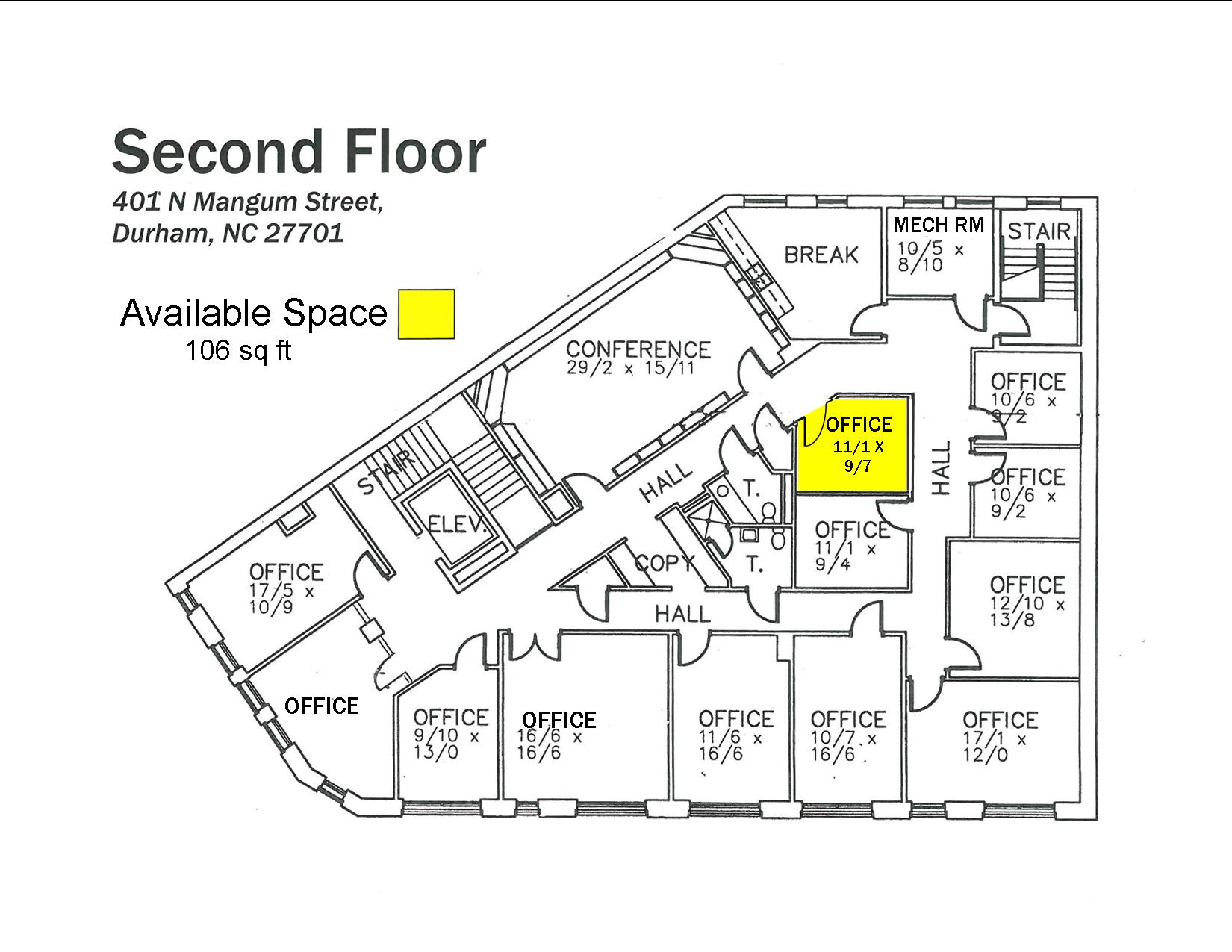 Floor 2 – Available Space – 106 sq ft