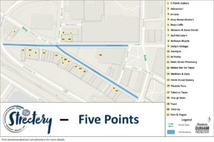Streetery Map for Five Points on June 26, 2021